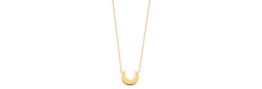 collier lune sur chaîne plaqué or